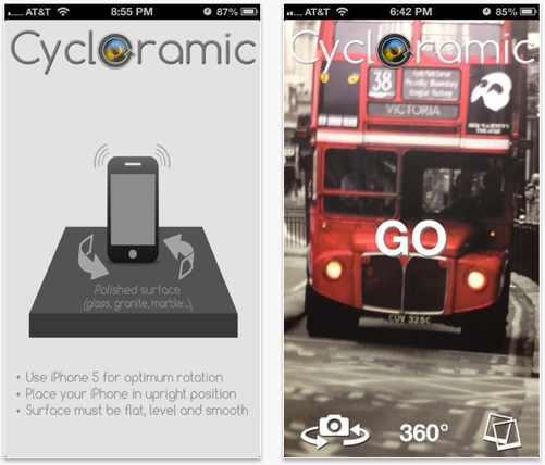 Cycloramic, vídeos panorámicos, gira, iphone, vibración, 360 grados