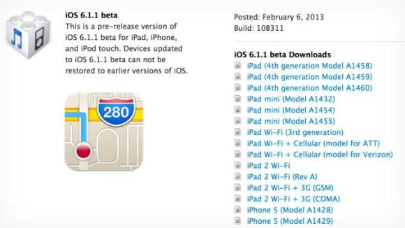 ios 6.1.1 beta, cambios, noticias, apple, ovedades, iphone, ipad, mapas
